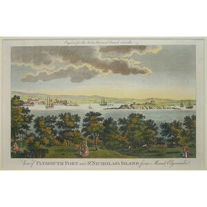 View of plymouth fort and st. Nicholas island from mount edgecumbe