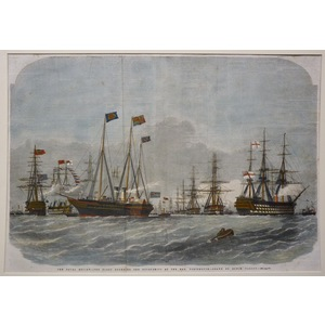 The naval review: the fleet rounding the pivot-ships at the nab, portsmouth - drawn by edwin weedon