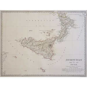 Ancient Italy, Part III - South & Sicily - Original hand coloured antique map. Engraved by J and ...