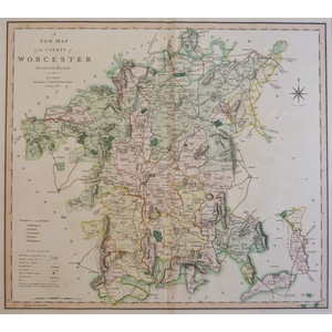 A New Map of the County of Worcester - Original antique map by C. Smith, 1804