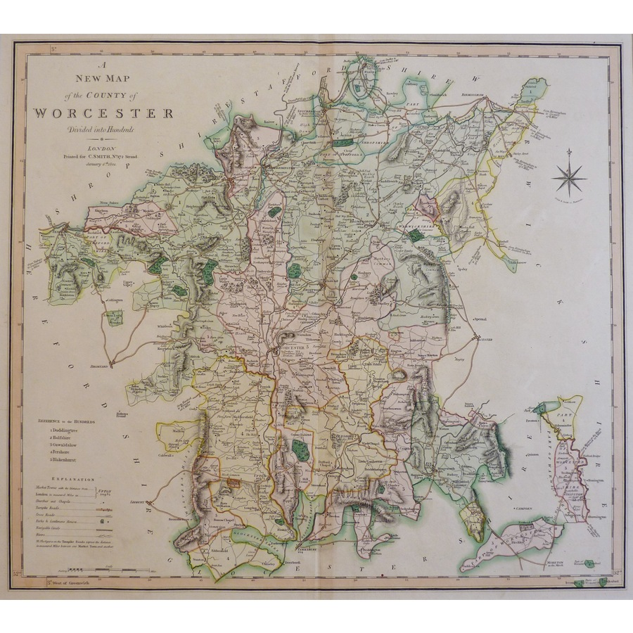 A New Map of the County of Wo. | Storey's