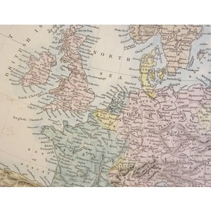 Europe - Original antique map. Engraved by J and C Walker. Published by Edward Stanford, 1874  Wi...