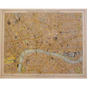 Stanfords map of the county of london - sheet 8 - west end, soho, bloomsbury, city, bethnal green...