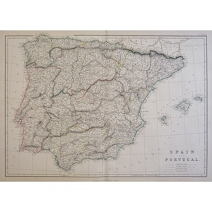 Weller, Edward - Spain and Portugal - Original antique steel engraved map. Drawn & engraved by E....