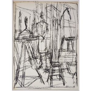 Unititled 1, by Giacometti - Original lithograph, for Derriere le Miroir No. 39-40, published 1951