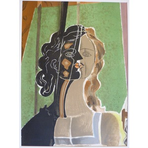 Braque , Georges - Head of a Girl. Original lithograph published in 1939 by Mourlot for Verve Mag...