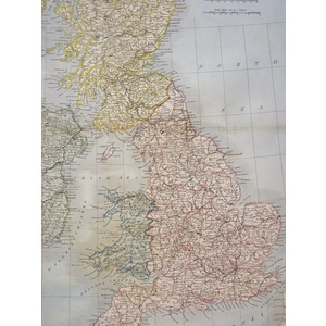 British Isles - Original Antique Map By Sydney Hall, 1840
