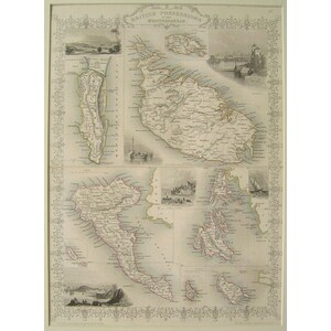 British possessions in the mediterranean - J. Tallis, 1851. Original Antique Steel Engraved Map. ...