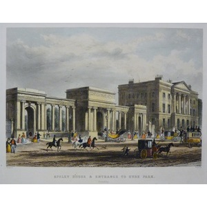 Apsley House & Entrance to Hyde Park. Original Antique Engraving Published 1858 for Mighty London.