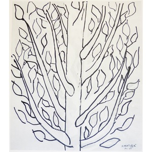 Matisse , Henri - Study of a Tree (1). Original heliogravure published in 1958 by Teriade for Ver...