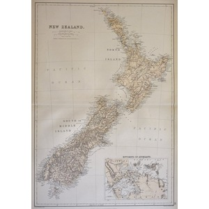 New Zealand - Original antique map by J. Barthoolomew, 1882
