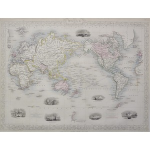 The World on Mercator's Projection - J. Tallis, 1851. Original Antique Steel Engraved Map. With O...