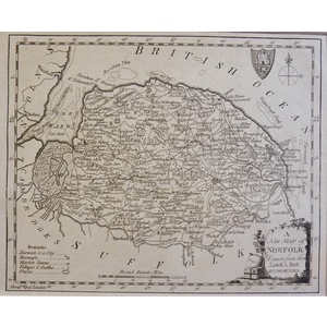A New Map of Norfolk Drawn from the Latest Authorities - Original antique map, 1780