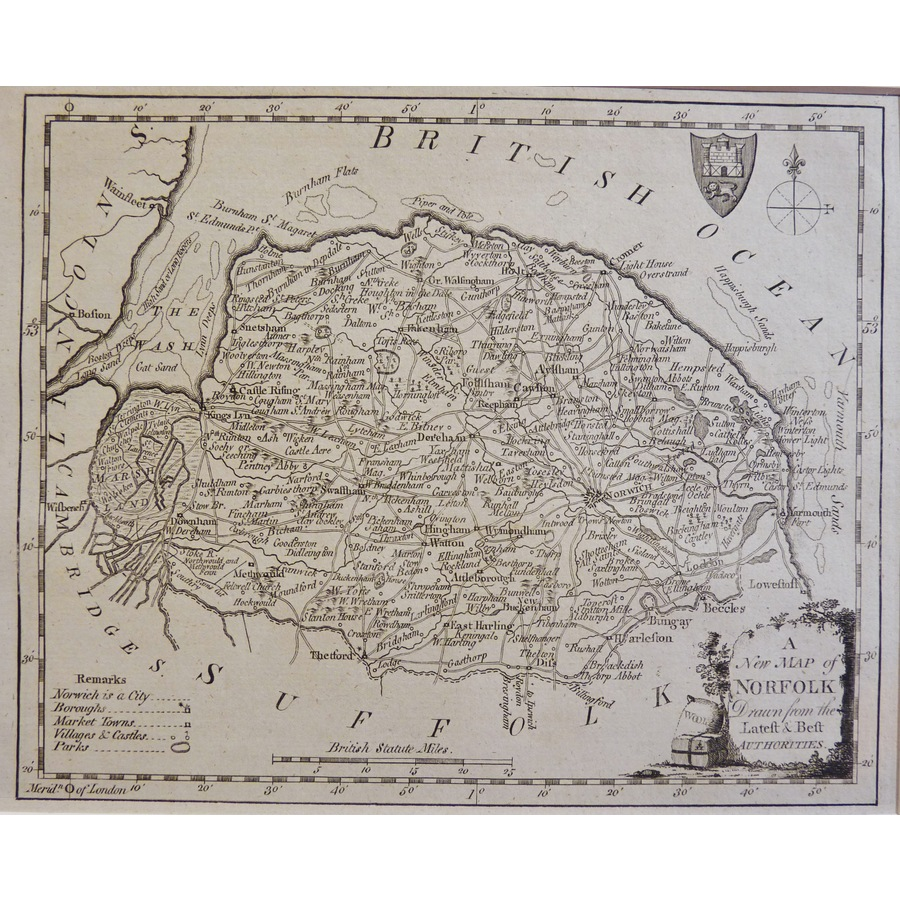 A New Map of Norfolk Drawn fr. | Storey's