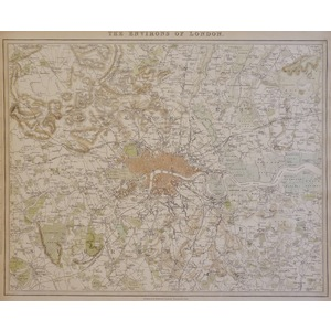 The Environs of London - Original Hand Coloured Antique Map. Published by Craddock & Baldwin, 183...