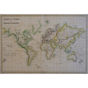 Chart of the World on Mercator's Projection - J. Wyld, 1827