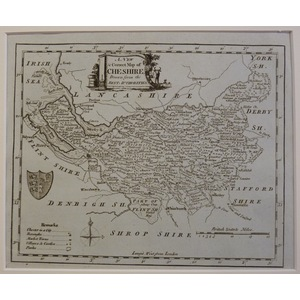 A new and correct map of cheshire - kitchin, 1780