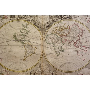 Sennex; John (1678 – 1740). A New Map of The World. Original hand coloured antique map. Published...