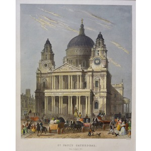 St. Paul's Cathedral, South Side, from Cannon Street - Original steel-plate engraving.  Published...