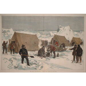 The north pole expedition: a sledge party camping for the night