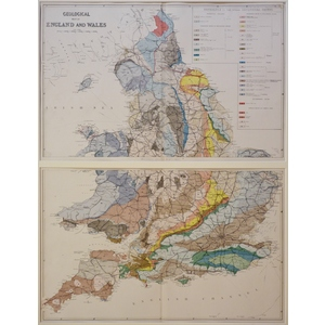 Geological Map of England and Wales - Original antique map published 1881