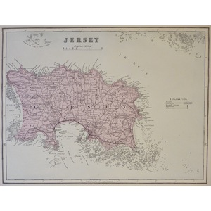 Jersey - Original antique map. Published by G.W. Bacon, 1881 for the