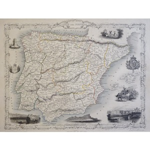 Spain and Portugal - J. Tallis, 1851. Original Antique Steel Engraved Map. With Original Hand-Col...