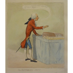 The Bottomless Pitt - Original Antique Copper Engraving by James Gillray. Hand coloured. Publishe...