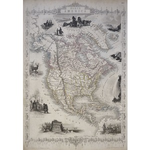 North America - Original Antique Map, 1851. Published By John Tallis. With Original Hand-Colour. ...