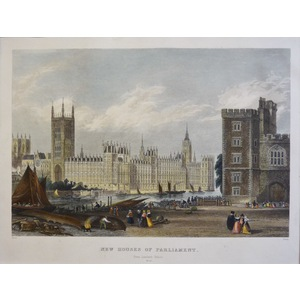 New Houses of Parliament - Original steel-plate engraving.   Published by T.H. Shepherd, 1858.  H...