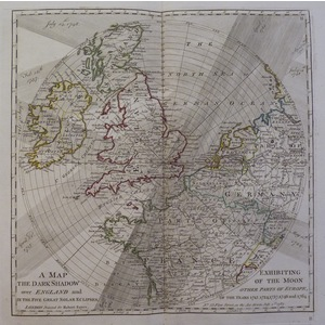 A map exhibiting the dark shadow of the moon over england and other parts of europe