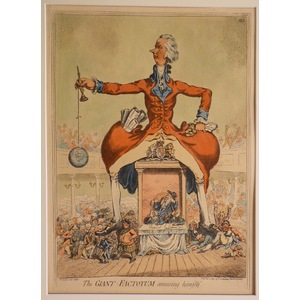 The giant factotum amusing himself. Original copper engraving by James Gillray, 1851.