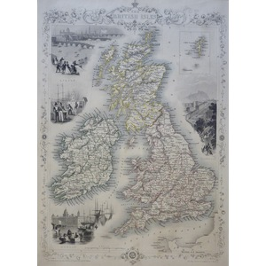 The British Isles - Original Antique Map By John Tallis, 1851