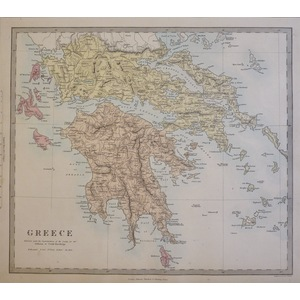 Greece - Original antique map. Engraved by J and C Walker. Published by Edward Stanford, 1874  Wi...
