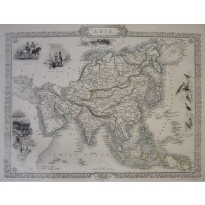 Asia - J. Tallis, 1851. Original Antique Steel Engraved Map. With Original Hand-Colour. Published...