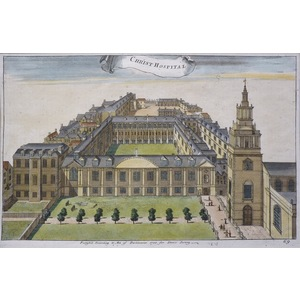 Christ's Hospital - Original antique copper engraving Engraved by Toms. Published by Stow for his...