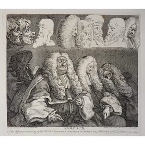 The bench - Original antique copper-plate engraving by William Hogarth. Published by Craddock & B...