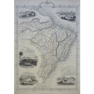 Original antique steel engraved map.  With original hand-colour.  Published by Tallis, 1851.  Inc...
