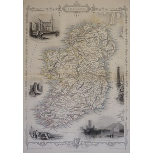 Ireland - Original antique steel engraved map.  With original hand-colour.  Published by John Tal...