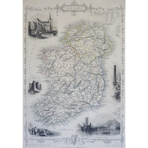 Ireland - Original Antique Map By John Tallis, 1851