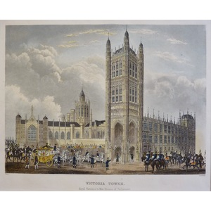 Victoria Tower, Royal Entrance to New Houses of Parliament - Original steel-plate engraving.  Pub...