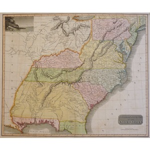 Southern Provinces of the United States - Original antique map  Copper engraved with original han...