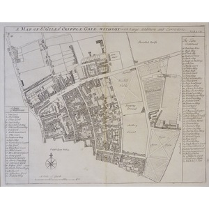 Stow, John (1525 - 1605) - A Map of St. Giles Cripplegate Without with Large Additions and Correc...