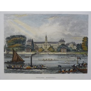 Chelsea Hospital. Original Antique Engraving published 1858 for Mighty London