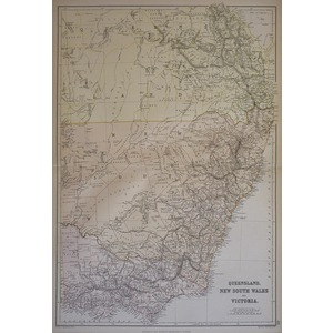 Queensland, New South Wales and Victoria - Original antique map, 1882