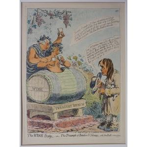 The Wine Duty - or - The Triumph of Bacchis & Silenus. Original copper engraving by James Gillray...