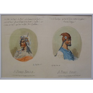 A Paris belle, a Paris beau. Original antique copper engraving by James Gillray, 1851