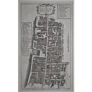 Stow, John (1525 - 1605) - Queen hith ward and vintry ward - Original antique copper engraved map...