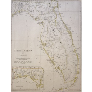North America - Sheet XIV, Florida - Original hand coloured antique map. Engraved by J and C Walk...