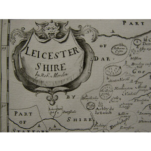 Morden ; Robert (1650 – 1703). Leicestershire. Original antique map. Second edition. Published 17...